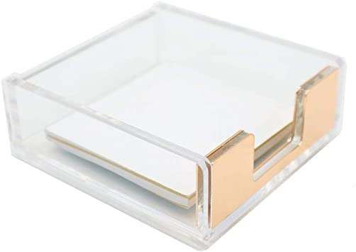MEI YI TIAN Clear Acrylic Gold Self-Stick Note Pad Holders Memo Note Cube Holder Dispenser 3.5x3.3 Inch for Office Home Schools Desk Supplies Gold