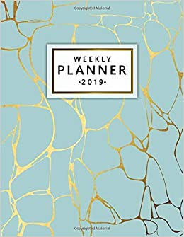Weekly Planner 2019: Cute Marble Turquoise Weekly and ...