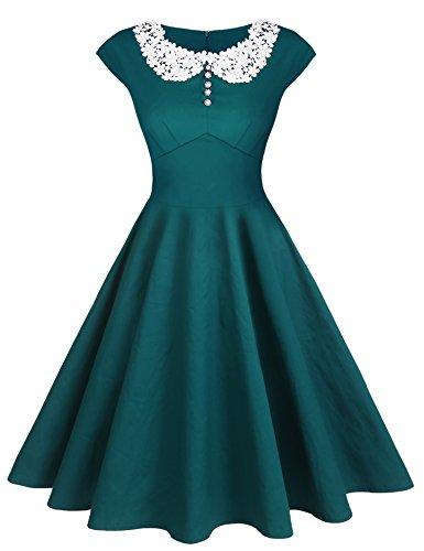 ACEVOG Women's Classic Hepburn Style Vintage Evening Dress for Party(Dark Green,L)