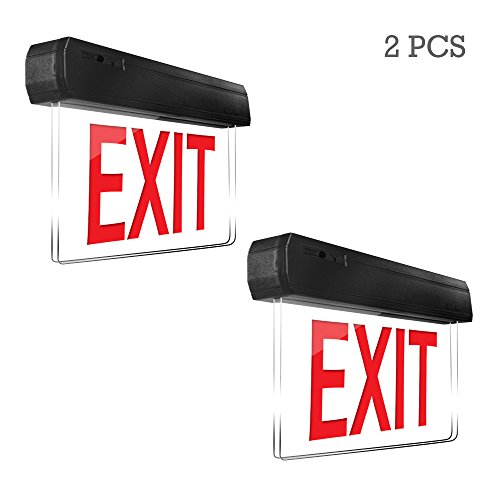 eTopLighting [2 Pack] Edge Lit Exit Sign LED Light Panel, Red Lettering, Battery Backup, Transparent See Through, Mount on Wall and Ceiling, Rotary Surface Mounting, AGG2128 (Lettering Battery Backup)