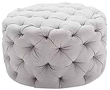 Peachy Round Ottoman Grey This Large Tufted Round Ottoman Features A Textured All Over Sleek Contemporary Look This Gray Round Ottoman Is The Perfect Gmtry Best Dining Table And Chair Ideas Images Gmtryco