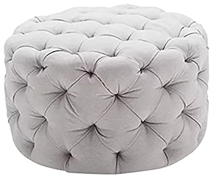 Round Ottoman Grey, This Large Tufted Round Ottoman Features A Textured All  Over Sleek Contemporary