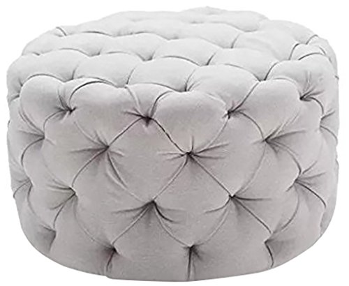 Round Ottoman Grey, This Large Tufted Round Ottoman Features a Textured All Over Sleek Contemporary Look, This Gray Round Ottoman Is the Perfect Footstool in Your Living Room Area!