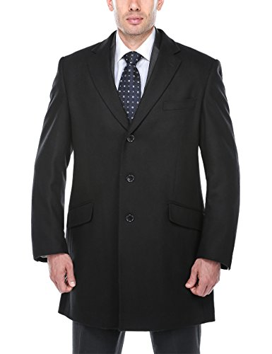 Chama Men's Wool Blend Winter Overcoat Classic Fit Jacket Pea Coat Car Coat (Black, (Wool Peacoat Jacket)