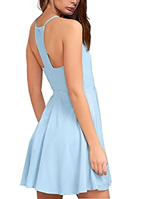 Lyrur Women's Sleeveless Spaghetti Straps Summer Flared Midi Skater Dress