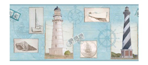 Unique Blue Border (York Wallcoverings BG1660BD Seacoast Lighthouse Border)