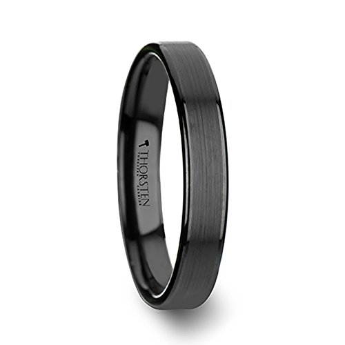 Thorsten Vulcan Black Tungsten Ring with Brushed Finish and Polished Edges 4mm Width from Roy Rose Jewelry