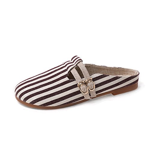 Women's Stylish Stripe Slide Sandals Round Head Slip On Mules Flats Outdoor Closed Toe Lazy Shoes by Btrada
