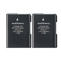 2-Pack of ecoEfficiency Replacement Nikon EN-EL14 EN-EL14A Battery for Nikon D3100, D3200, D3300, D3400, D5100, D5200, D5300, D5500, D5600, DF, Coolpix P7000, P7100, P7700, P7800 DSLR Cameras
