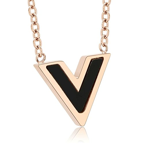 [KnBoB Stainless Steel Pendant Necklace Women Polished Triangle Necklace Rose Gold 1.3x1.1CM] (Diy Half Man Half Woman Costume)