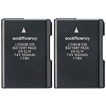ecoEfficiency 2-Pack of EN-EL14, EN-EL14A Batteries for Nikon D3100, D3200, D3300, D3400, D5100, D5200, D5300, D5500, D5600, DF, Coolpix P7000, P7100, P7700, P7800 DSLR Cameras