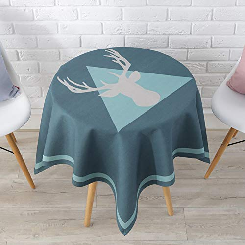 GODXMDD Cartoon Table Cover,Kitten Tablecloth Square for Coffee Table Parties Animal Tablecloth Deer Round Cat Tablecloth Solid Color-E 110x110cm(43x43inch) (Square Table Coffee Deer)