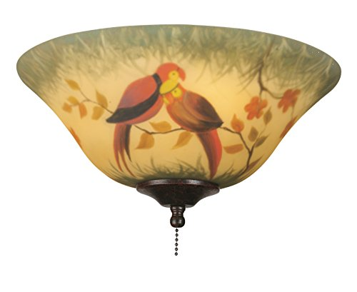 Fanimation G439 Glass Bowl, 13-Inch, Hand-Painted Parrot - Hand Painted Ceiling Light