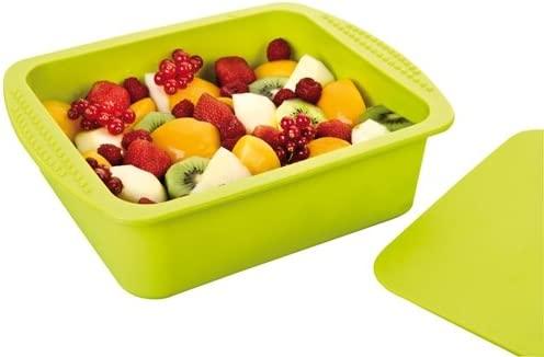 Recipiente silicona para cocinar papillote, Recetario de obsequio – color verde, rectangular – tamaño familiar – para horno y microondas – capacidad ...