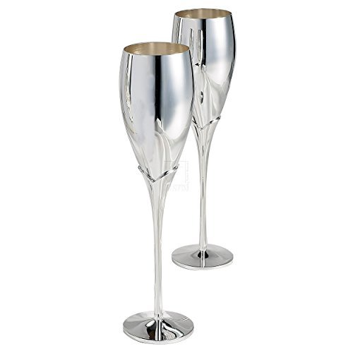 Elegance Silver Pair of Silver Champagne Flutes ()