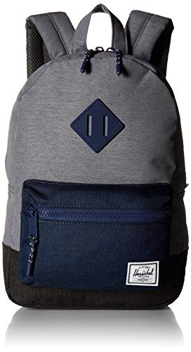 Herschel Heritage Kids Children's Backpack, Mid Grey Medieval Blue Black Crosshatch, One Size