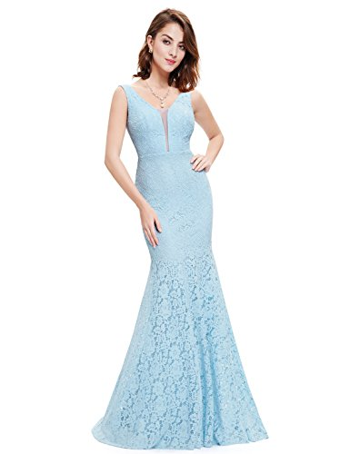 Ever-Pretty Womens V-Neck Design Lace Wedding Maxi Dress 6 US Blue