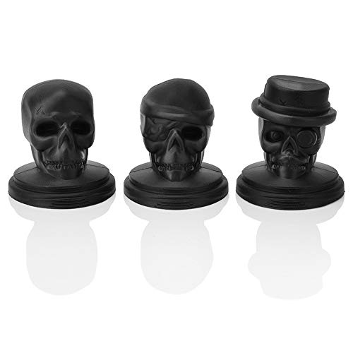 JUZEN Silicone Ice Cube Pallet Mould Creative Halloween Silicone Steamed Ice Cube Combination Brackets Cranium Shaped Ice Mold, Black, 5Pack]()