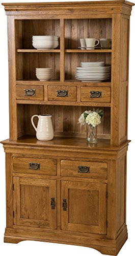 Hermosa Knightsbridge Welsh Dresser Cabinet with Lacquer Finish, Solid Oak, Brown, Small, 98 x 43 x 190 cm