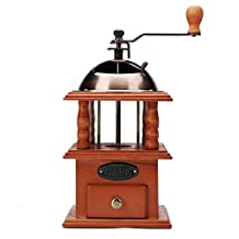"""3E Home 23 - 2300 Hand Crank Manual Canister Stainless Steel Burr Coffee Grinder Mill,Stainless Steel Top and Solid Wood Body,4.5"""" x 4.5"""" x 8.2"""", Brown"""
