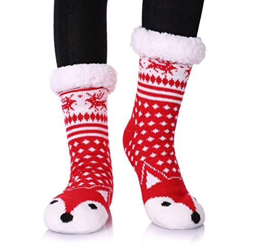 - Dosoni Womens Girls Faux Fur Fuzzy Winter Asymmetric Cartoon Animal Cute Fleece-lined Winter Slipper Socks with Grippers (Red Fox)