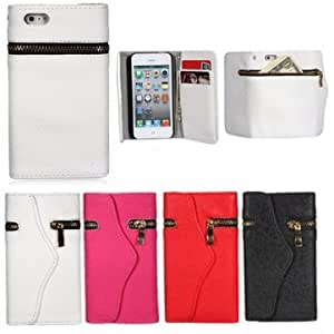 Zipper Envelope Purse Leather Wallet Design Case Cover for iPhone 5 --- Color:Black