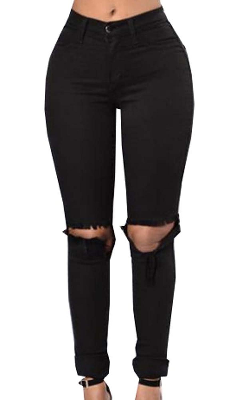 ouxiuli Mens Fashion Slim Black Stretch Broken Holes Skinny Denim Pants