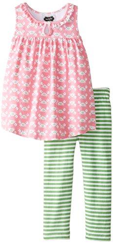 Mud Pie Little Girls' Toddler Two Piece Set Sleeveless, Pink/Green Crab, 5T