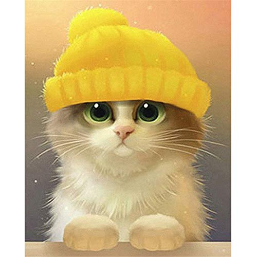 Cute Animal Cat?5D Diamond Painting Embroidery Diy Paint-By-Diamond Kit Home Wall Decor 9.8X11.8 Inch -