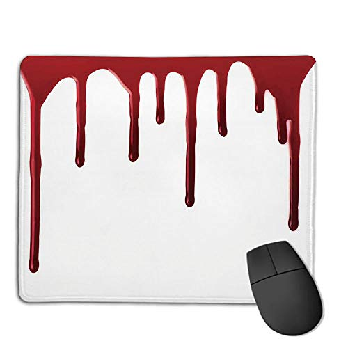 Mouse Pad Custom,Mouse Pad Non-Slip Thick Rubber Large MousepadHorror,Flowing Blood Horror Spooky Halloween Zombie Crime Scary Help me Themed Illustration,Red White,Suitable for Any Mouse Type, Home]()