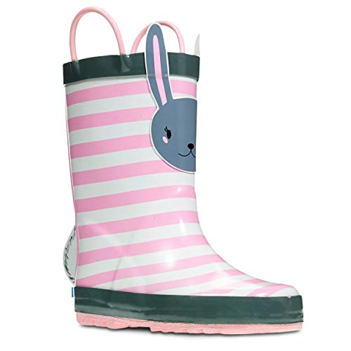 ZOOGS Children's Rubber Rain Boots, Little Kids & Toddler, Boys & Girls Patterns, Pink - Boots Mickey Mouse Army