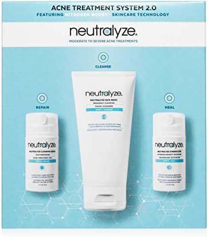 Neutralyze Moderate To Severe Acne Treatment Kit 2.0 - Maximum Strength Anti Acne Treatment With 2% Salicylic Acid + 1% Mandelic Acid + Nitrogen Boost Skincare Technology (60 Day)