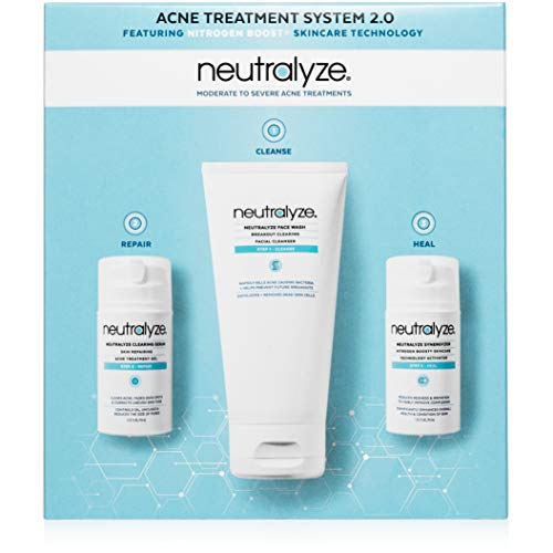 Neutralyze Moderate To Severe Acne Treatment Kit 2.0 (60 Day) - Maximum Strength Anti Acne Medication With 2% Salicylic Acid + 1% Mandelic Acid + Nitrogen Boost Skincare Technology