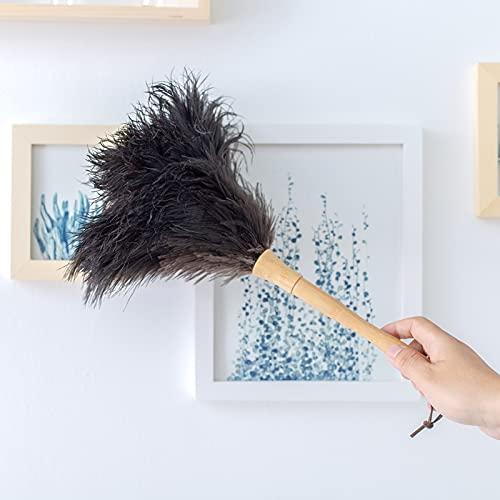 XKMY Stofborstel 16 inch struisvogel veer auto's veren borstel met houten handvat voor huis schoonmaken (Kleur: Zwarte…