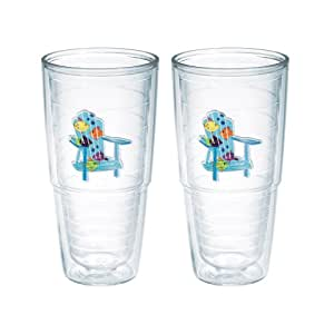 "TERVIS Tumbler, 24-Ounce, ""Tropical Fish Adirondack Chairs"", 2-Pack"