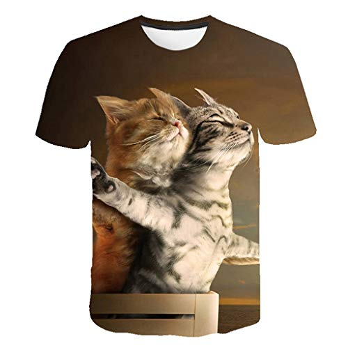 Zackate Mens Cute 3D Cat Printing Short Sleeve T-Shirts Casual Plus Size Round Neck Sweatshirts Tee Tops Brown]()