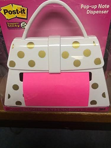 Post It Pop Up Note Dispenser White Purse With Gold Dots Amazon