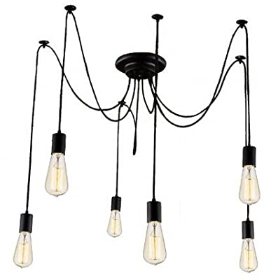 Kiven 6 heads Vintage Chandelier DIY Home Ceiling Light Fixtures Edison Bulb Pendant Lights Wire Lighting Antique Light Fixtures Industrial Loft Ceiling Flush Mount Chandelier For Bedroom Dinner Room Foyer Kitchen Home Decor
