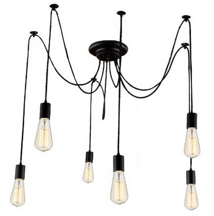 Wire For Light Fixtures | Kiven 6 Heads Vintage Chandelier Diy Home Ceiling Light Fixtures
