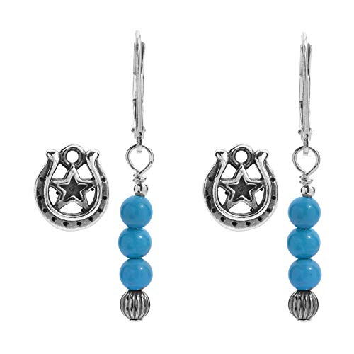 American West Sterling Silver Turquoise Gemstone Bead and Horseshoe Charm Earring Set