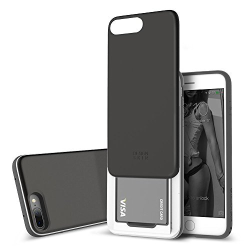 - DesignSkin iPhone 8+ Sliding Card Holder Case, Extreme Heavy Duty Triple Layer Bumper Protection Wallet Cover with Storage Slot for Apple iPhone 8 Plus / 7 Plus (Black Titanium)