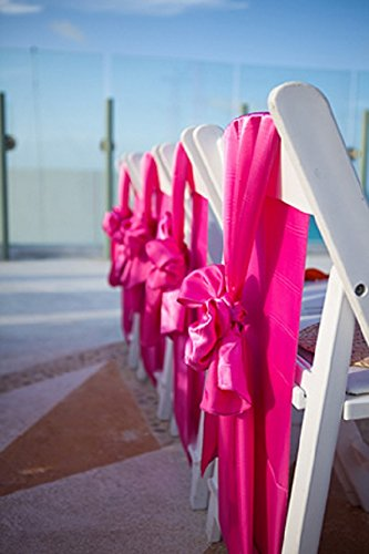 SPRINGROSE 50 Fuschia-Hot Pink Wedding Satin Chair Sashes. These Are a Wonderful Decoration for Your Chairs. Be Sure and Add Them to Your List of Party Supplies. ()