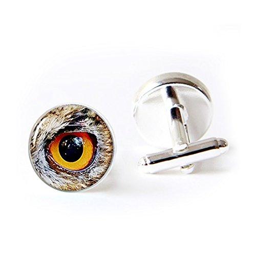 JEANCZ Jewelry Stainless Cufflinks Eagle Sharp Eyes Classic Tuxedo Shirt Cufflinks with Elegant Storage Display Box