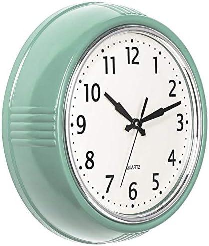 Bernhard Products Retro Wall Clock 9.5 Inch Green Kitchen 50's Vintage Design Round Silent Non Ticking Battery Operated Quality Quartz Clock Seafoam Green