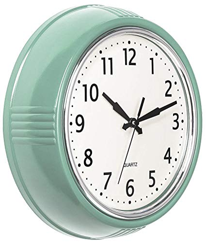 Bernhard Products Retro Wall Clock 9.5 Inch Green Kitchen 50's Vintage Design Round Silent Non Ticking Battery Operated…
