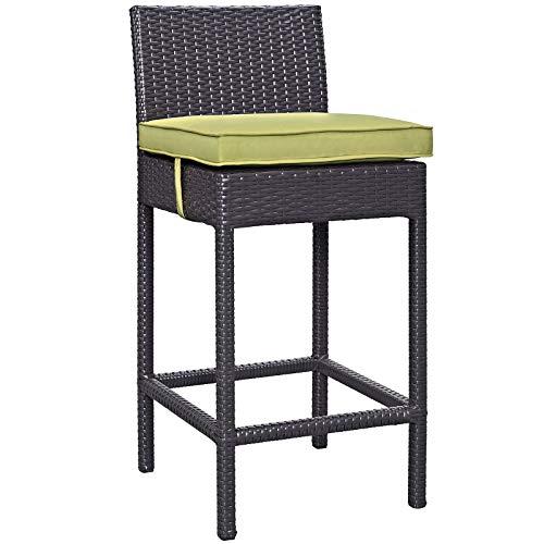 (Modway Convene Wicker Rattan Outdoor Patio Bar Stool With Cushion in Espresso Peridot (Renewed))