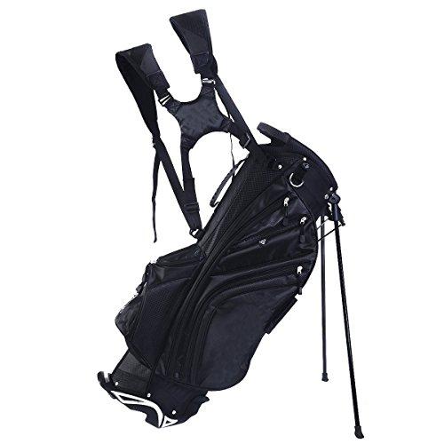 TANGKULA Hyper Lite Golf Stand Bag w/Shoulder Strap Rain Cover Blk & White 6 Way Divider by TANGKULA