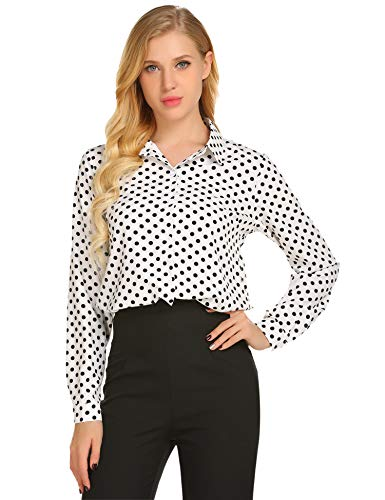 Zeagoo Women's Long Sleeve Casual Polka Dot Button Up Office Blouse Shirt Top,White,XX-Large