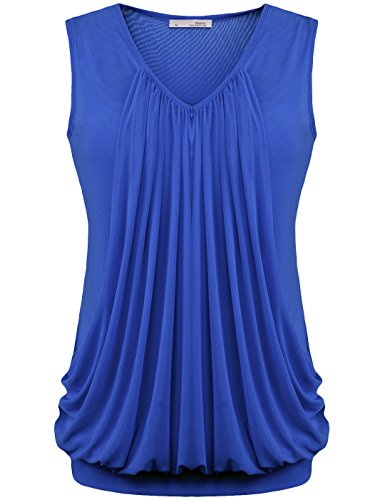 [Messic Womens V Neck Sleeveless Pleated Front Tunic Top Blouse (X-Large, Dark Blue)] (70s Workout Clothes)