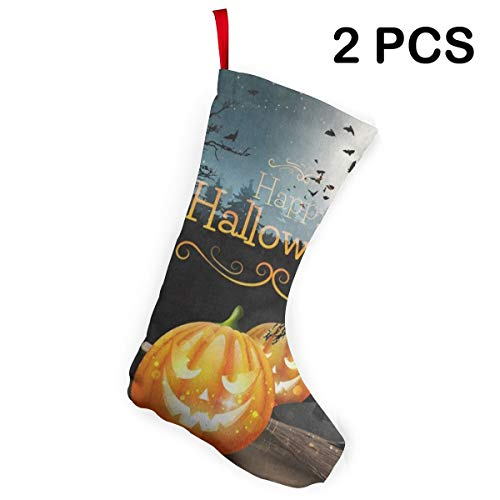 Ladninag Christmas Stockings Halloween Pumpkin Forest Custom Personalized Christmas Accessory Socks 2 pcs